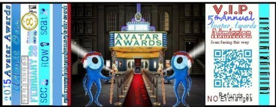 1 Avatar Awards ticket 2015
