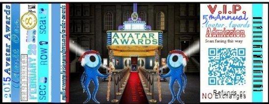 1 Avatar Awards ticket 2015